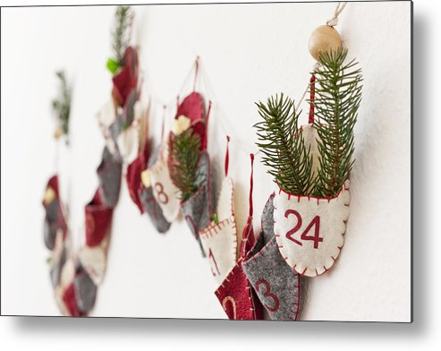 Horizontal Metal Print featuring the photograph Close Up Of Advent Calendar On Wall by Nils Hendrik Mueller
