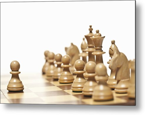 Horizontal Metal Print featuring the photograph Close Up Of Chess Pieces On Board by Walter Zerla