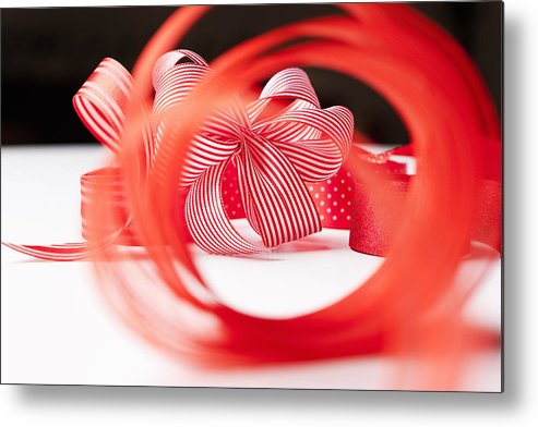 Horizontal Metal Print featuring the photograph Close Up Of Decorative Red Ribbons by Nils Hendrik Mueller