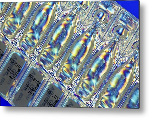 Interference Pattern Metal Print featuring the photograph Eye Drops Ampoules, Photoelastic Stress by Pasieka