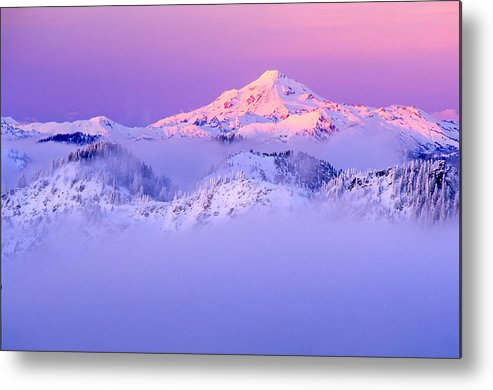 Mountain Metal Print featuring the photograph Glacier Peak Alpenglow - Purple by Misao Okada