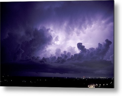 Buildings Metal Print featuring the photograph Lightning by Pekka Parviainen
