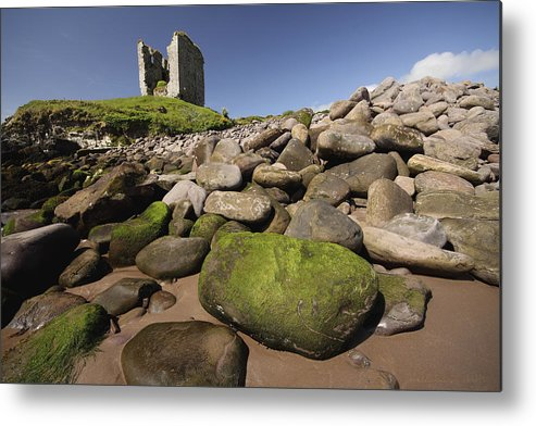 Blue Sky Metal Print featuring the photograph Minard Castle And Rocky Beach Minard by Trish Punch
