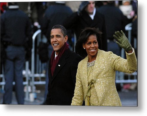 History Metal Print featuring the photograph President And Michelle Obama Wave by Everett