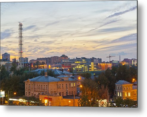 Russian Metal Print featuring the photograph Russian City Night by Aleksandr Volkov