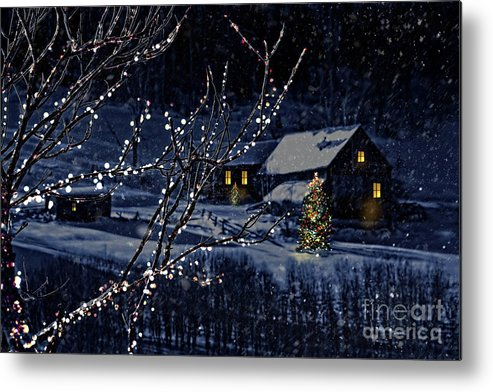 Architecture Metal Print featuring the photograph Snowy Winter Scene Of A Cabin In Distance by Sandra Cunningham