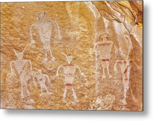 Horizontal Metal Print featuring the photograph Usa, Utah And Colorado, Dinosaur National Monument, Petroglyphs by Bryan Mullennix