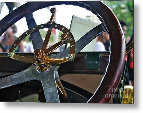 Photography Metal Print featuring the photograph 1913 Chalmers - Steering Wheel by Kaye Menner