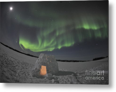 Yellowknife Metal Print featuring the photograph Aurora Borealis Over An Igloo On Walsh by Jiri Hermann