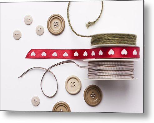 Horizontal Metal Print featuring the photograph Close Up Of Ribbon, String And Buttons by Nils Hendrik Mueller
