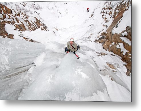 Greg Moore Metal Print featuring the photograph Ice Climber by Elijah Weber