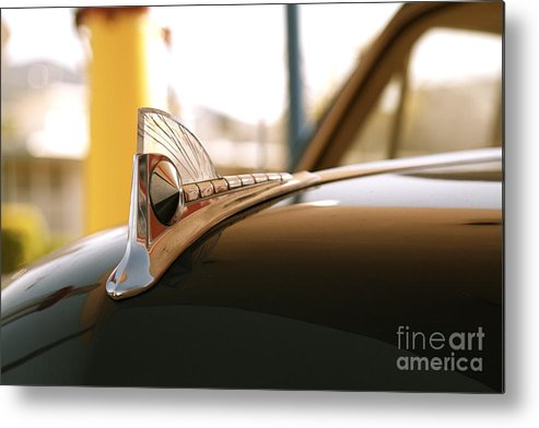 Car Metal Print featuring the photograph Rusted Antique Ford Car Brand Ornament by ELITE IMAGE photography By Chad McDermott