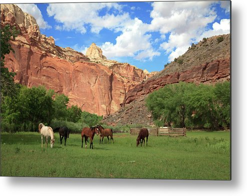 Capitol Reef National Park; Cathedral Valley; Utah; Travel; Grand Circle; Southern Utah; Beauty; Skys; Clouds; Nature; Vista; National Park; Monolith; Sandstone; Desert; Landscape; Scenic; Photography; Vast Metal Print featuring the photograph Capitol Reef National Park by Southern Utah Photography