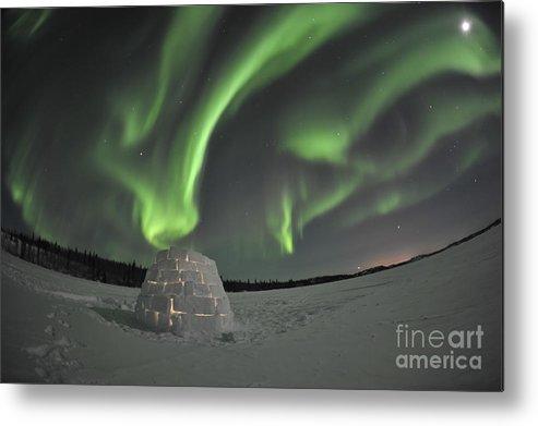 Yellowknife Metal Print featuring the photograph Aurora Borealis Over An Igloo On Walsh by Jiri Hermann