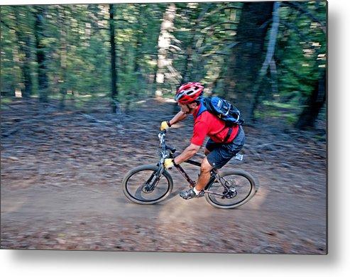 David Weber Metal Print featuring the photograph Mountain Biking by Elijah Weber