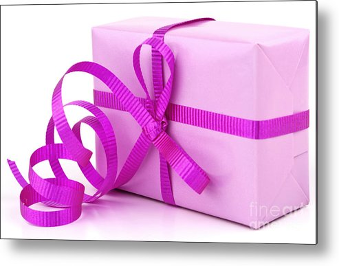 Gift Metal Print featuring the photograph Pink Gift by Blink Images