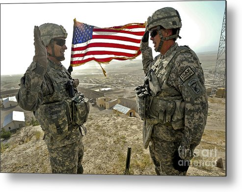 Army Metal Print featuring the photograph A Commander Re-enlists Master Sergeant by Stocktrek Images