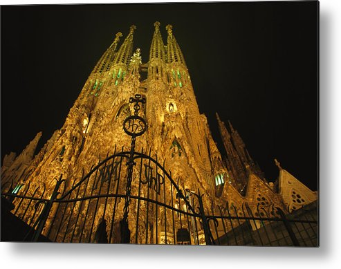 Europe Metal Print featuring the photograph A Night View Of Gaudis Temple Expiatori by Michael Melford