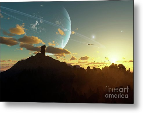 Artwork Metal Print featuring the digital art A Sunset On A Forested Moon Which by Brian Christensen