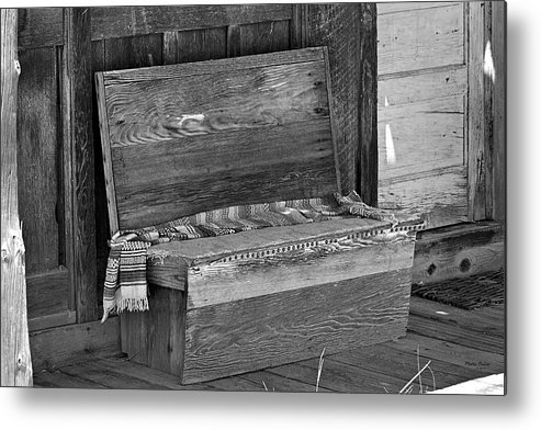 Bench Metal Print featuring the photograph A Weathered Bench Black And White by Phyllis Denton
