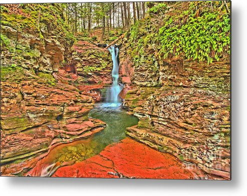 Ricketts Glen Metal Print featuring the photograph Adams Falls by Adam Jewell