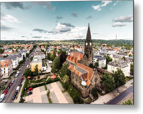 Horizontal Metal Print featuring the photograph Aerial View Of Dresden, Germany by Philipp Götze