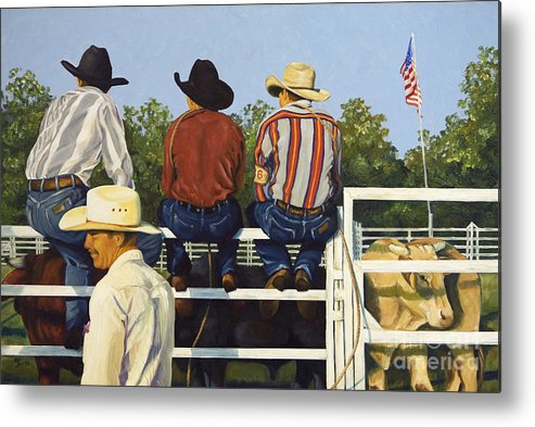 Cowboys Metal Print featuring the painting All American by Pat Burns