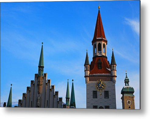 Horizontal Metal Print featuring the photograph altes Rathaus In Munich, Germany by Nisa and Ulli Maier Photography