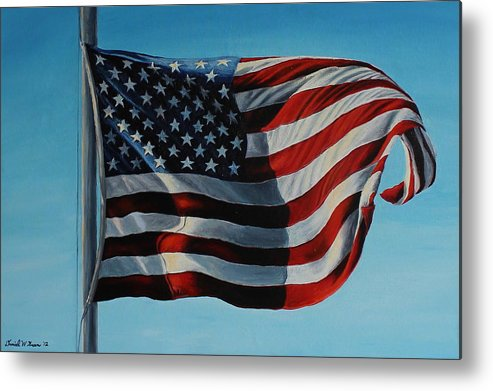 American Flag Metal Print featuring the painting America The Beautiful by Daniel W Green