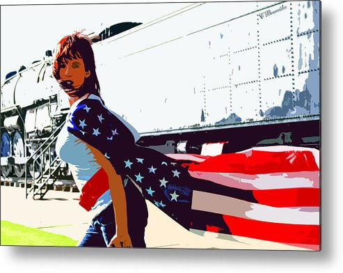 Beauty Metal Print featuring the photograph American Girl by Charles Benavidez