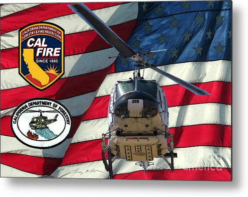 Firefighting Metal Print featuring the digital art American Hero 1 by Tommy Anderson
