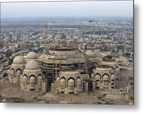 Aerial View Metal Print featuring the photograph An Aerial View Of Saddam Hussiens Great by Terry Moore