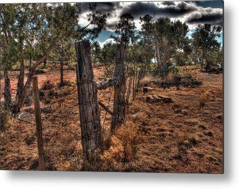 Arizona Fence And Desert Metal Print featuring the photograph Arizona Fence And Desert by Mark Valentine