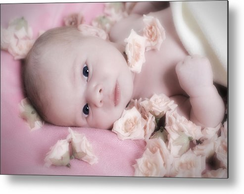 Adorable Metal Print featuring the photograph Baby In Bed Of Roses by Waldek Dabrowski