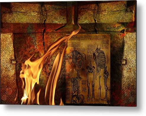 Surreal Metal Print featuring the mixed media Back Bone #3 by Janet Kearns