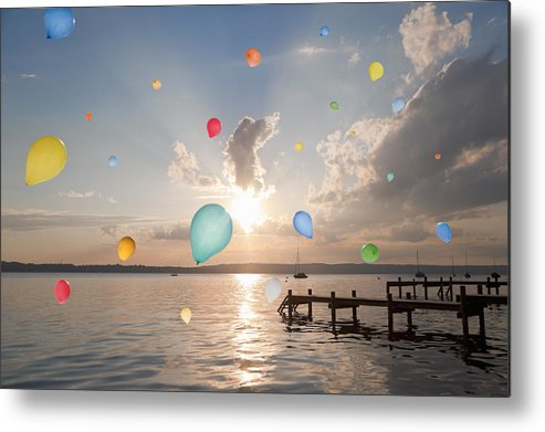 Horizontal Metal Print featuring the photograph Balloons Floating Over Still Lake by Henglein and Steets