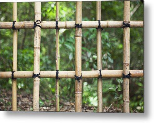 No People Metal Print featuring the photograph Bamboo Fence Detail Meiji Jingu Shrine by Bryan Mullennix