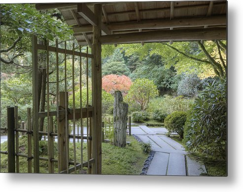 Mood Metal Print featuring the photograph Bamboo Gate And Traditional Arch by Douglas Orton
