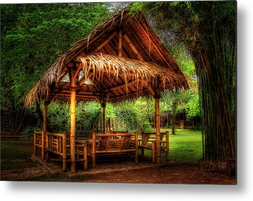 Traditional Sundanese Architecture Little Hut Metal Print featuring the photograph Bamboo Hut  by Tonny Ernawan