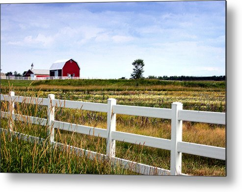 Barn Metal Print featuring the photograph Barn And Fence by Cheryl Cencich