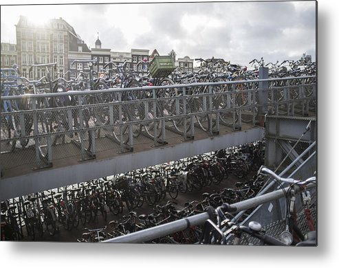 Horizontal Metal Print featuring the photograph Bicycles Parked On City Sidewalk by jackSTAR