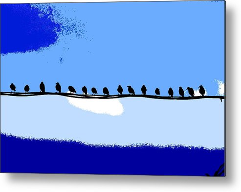 Birds Metal Print featuring the photograph Birds On Wire by Burney Lieberman