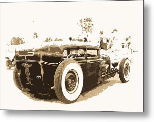 Model A Sedan Metal Print featuring the photograph Black And White Hot Rod by Steve McKinzie
