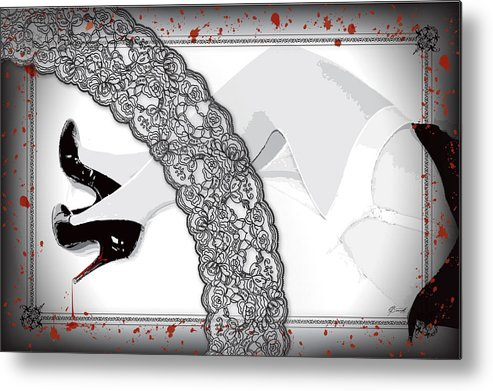 Red Metal Print featuring the digital art Black Lace And Killer Pumps by Dana Bennett