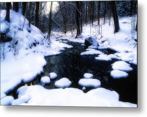 Landscape Metal Print featuring the photograph Black River Winter Scenic by George Oze