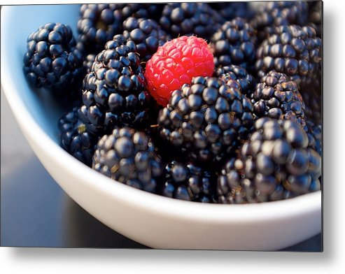 Horizontal Metal Print featuring the photograph Blackberries With Raspberry by Dane Sigua