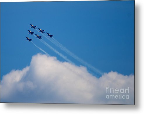 Blue Angels Metal Print featuring the photograph Blue Angels Up And Away by Mark Dodd