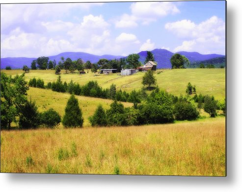 Photo Metal Print featuring the photograph Blue Ridge Farm - 1 by Alan Hausenflock