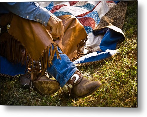 Cowboy Metal Print featuring the photograph Boots And Quilt On The Trail by Toni Hopper