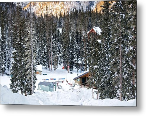Landscape Metal Print featuring the photograph Bottom Of Ski Slope by Lisa Spencer